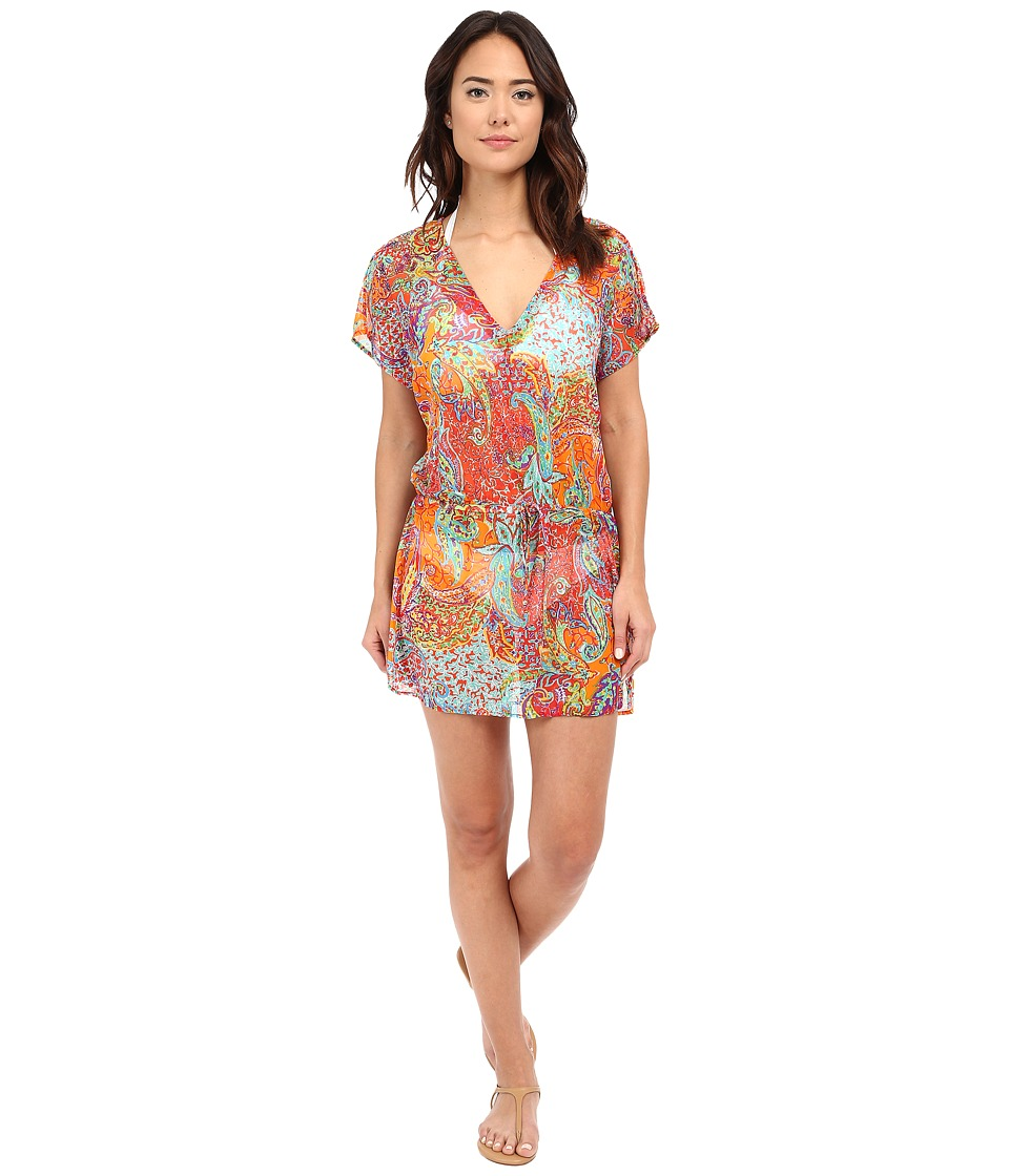 LAUREN Ralph Lauren Maharaja Paisley Poolside Tunic Cover Up Coral Womens Swimwear