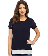 U.S. POLO ASSN. - Short Sleeve Lace Sleeve Twofer Sweater