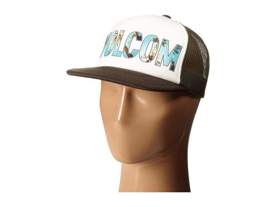 Volcom Girl Talk Trucker Hat Army Caps