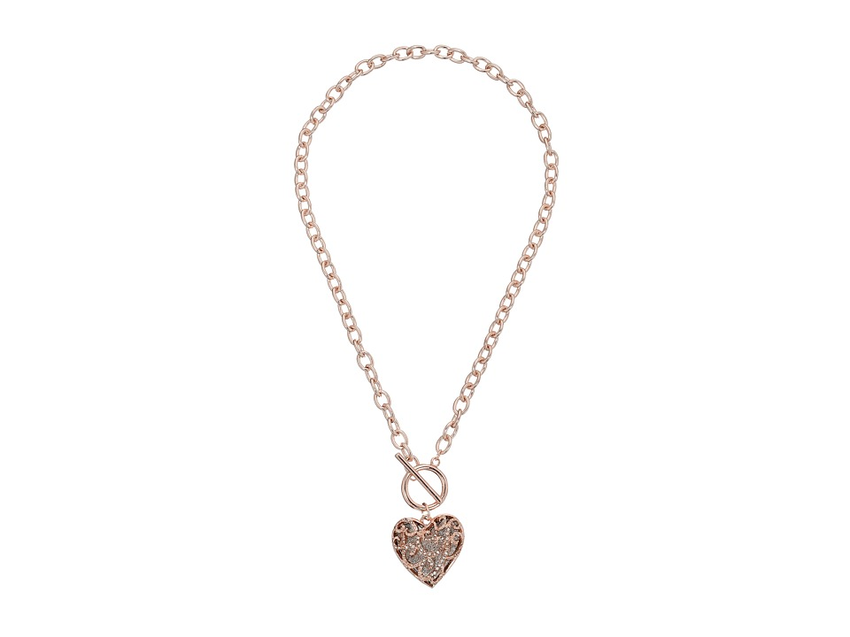 GUESS - Swirl Pave Heart Toggle Pendant Necklace (Rose Gold/Crystal) Necklace