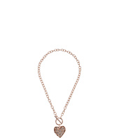 GUESS - Swirl Pave Heart Toggle Pendant Necklace