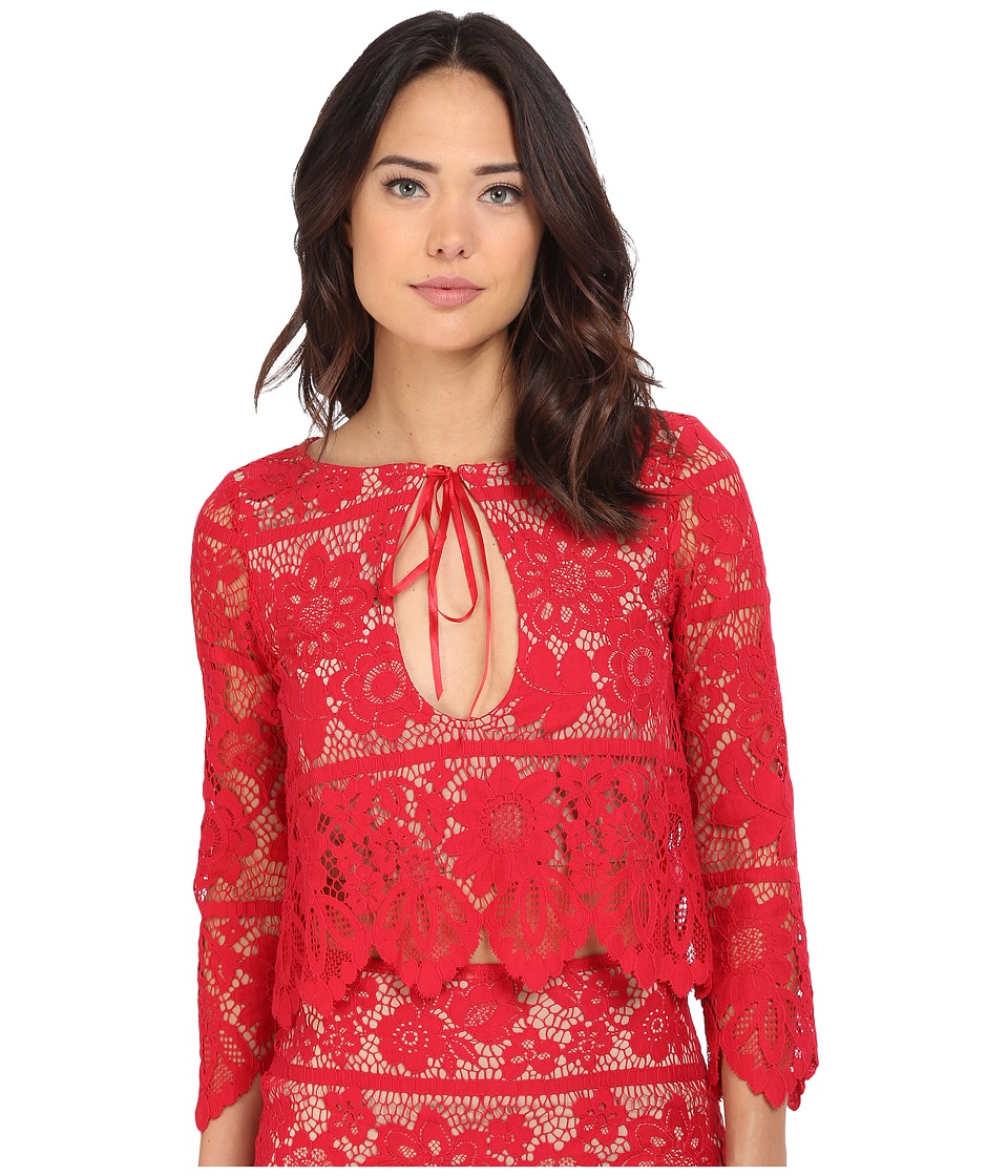 For Love and Lemons Gianna Crop Top Hot Red Womens Clothing