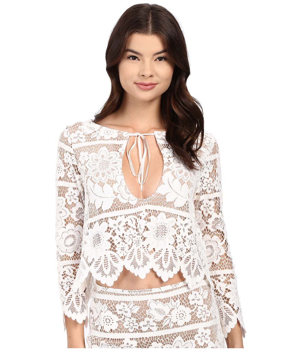 For Love and Lemons Gianna Crop Top White Womens Clothing
