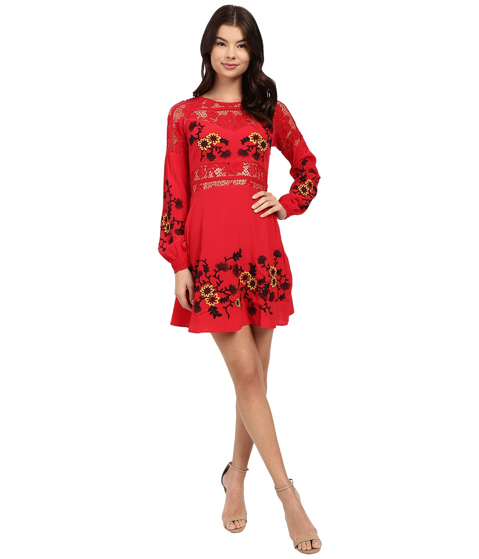 For Love and Lemons Isabella Long Sleeve Dress Hot Red Womens Dress