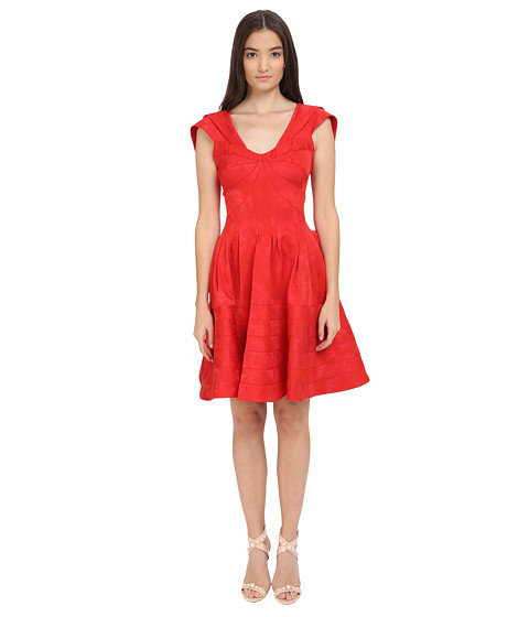 Zac Posen Party Jacquard Cap Sleeve Fit and Flare Dress - Ruby