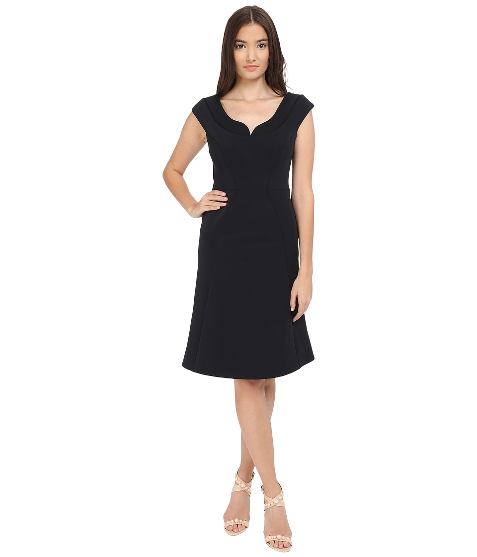 Zac Posen Bonded Crepe Cap Sleeve Dress Liquorice Womens Dress