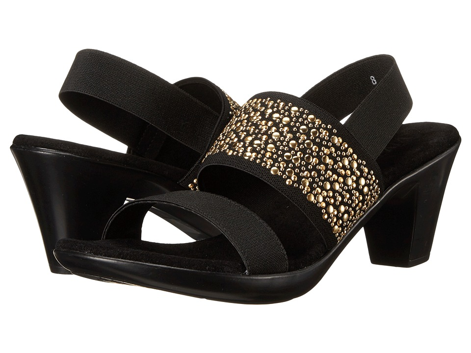 Vivanz Ariel Black/Gold Womens Dress Sandals