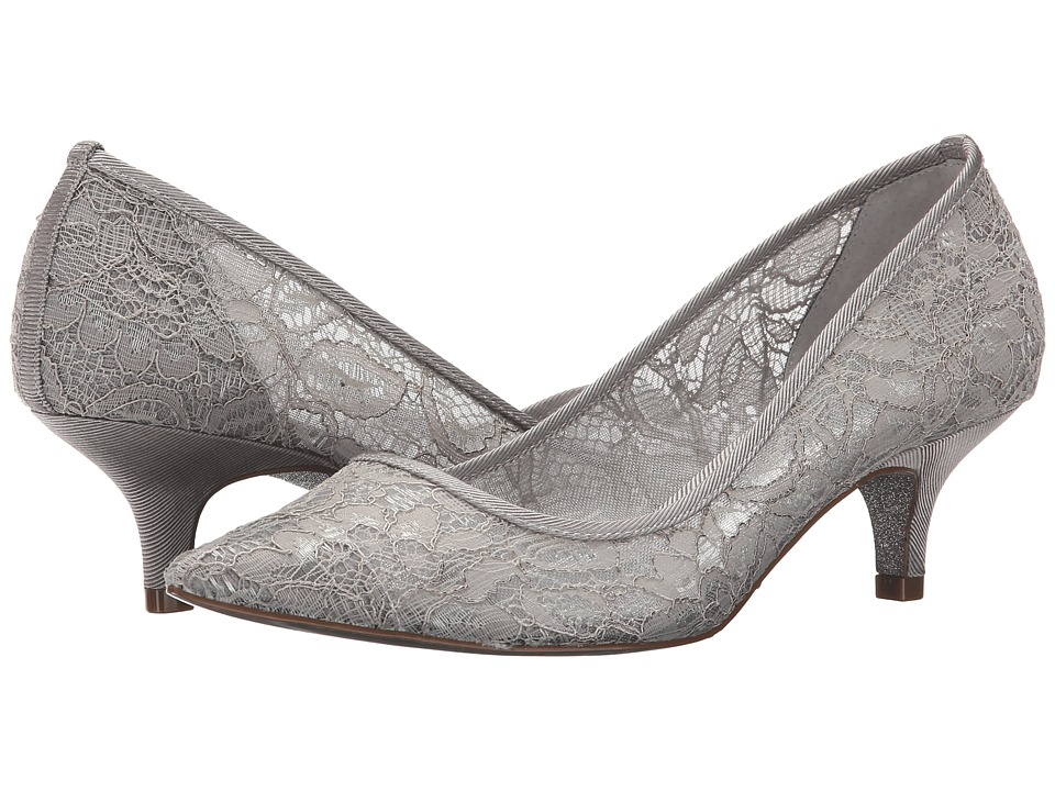 Vintage Inspired Wedding Dresses Adrianna Papell - Lois Lace Silver 1890 Lace Womens 1-2 inch heel Shoes $118.95 AT vintagedancer.com