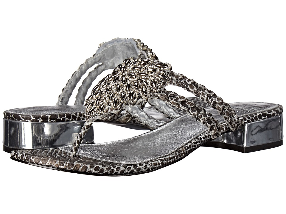 Adrianna Papell Delta Silver Lizy Metallic Womens Dress Sandals