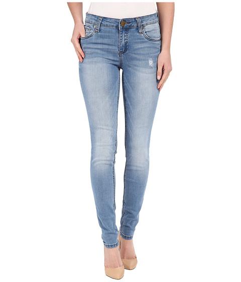 KUT from the Kloth Mia Toothpick Five-Pocket Skinny Jeans in Valuable w/ Medium Base Wash - Valuable/Medium Base Wash