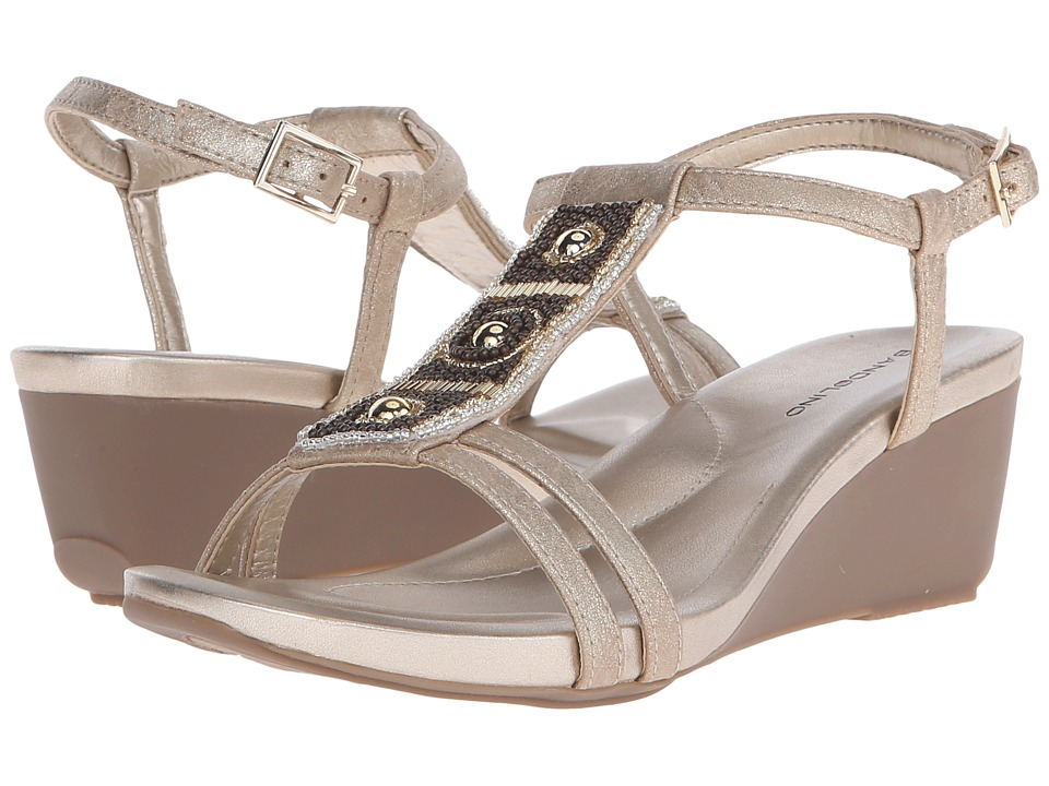 Bandolino Hettie Light Gold Synthetic Synthetic Womens Sandals