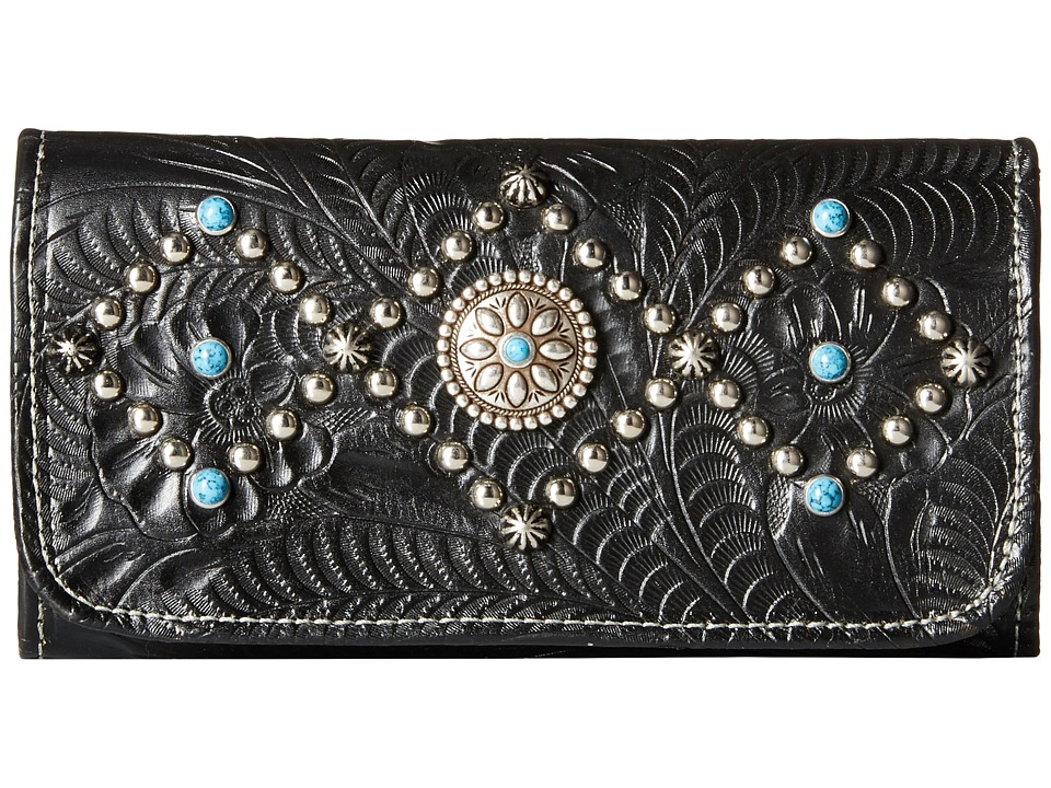American West - Canyon Creek Tri-fold Wallet (Black) Wallet Handbags