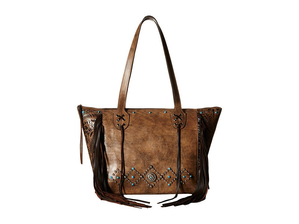 American West - Canyon Creek Zip-top Fringe Tote (Distressed Charcoal Brown/Chocolate) Tote Handbags
