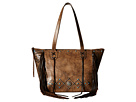 American West Canyon Creek Zip-top Fringe Tote (Distressed Charcoal Brown/Chocolate)