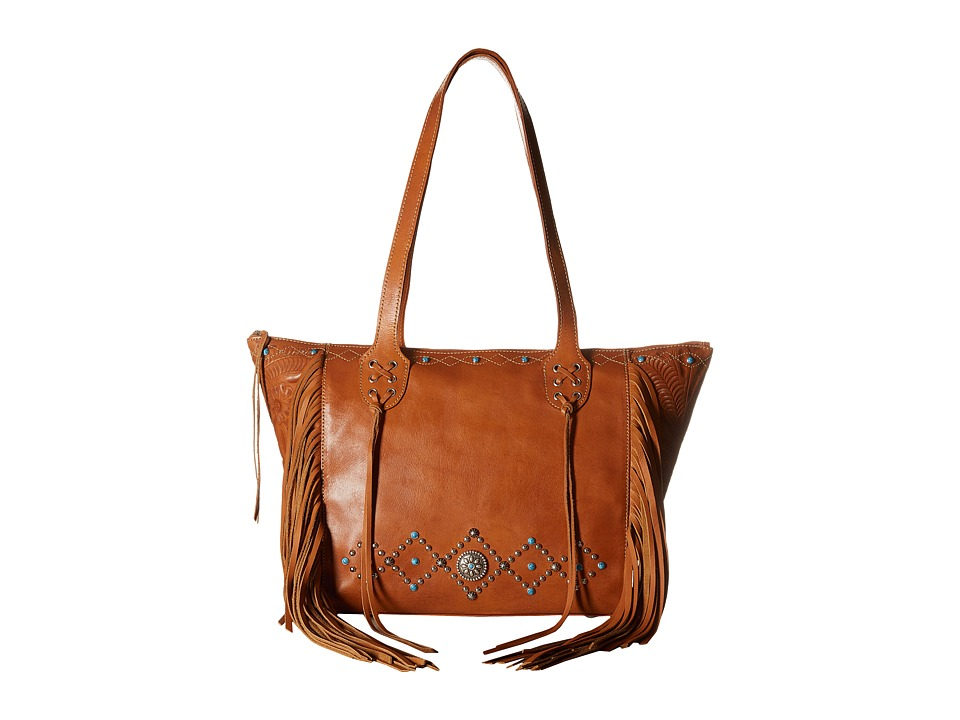 American West - Canyon Creek Zip-top Fringe Tote (Golden Tan) Tote Handbags