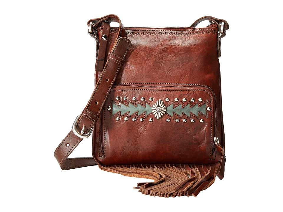 American West - Moon Dancer Crossbody/Wallet (Chestnut Brown/Light Turquoise) Cross Body Handbags
