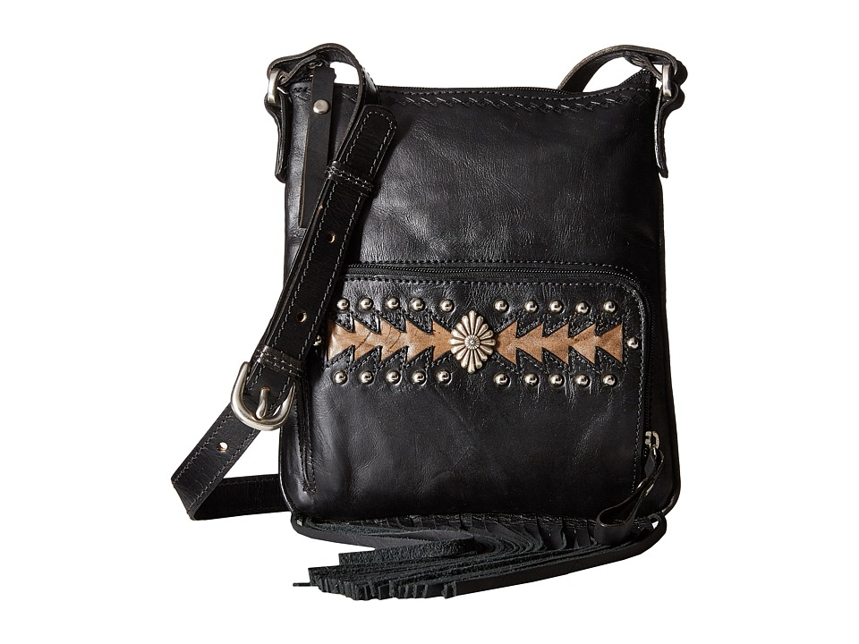 American West - Moon Dancer Crossbody/Wallet (Black/Distressed Charcoal Brown) Cross Body Handbags