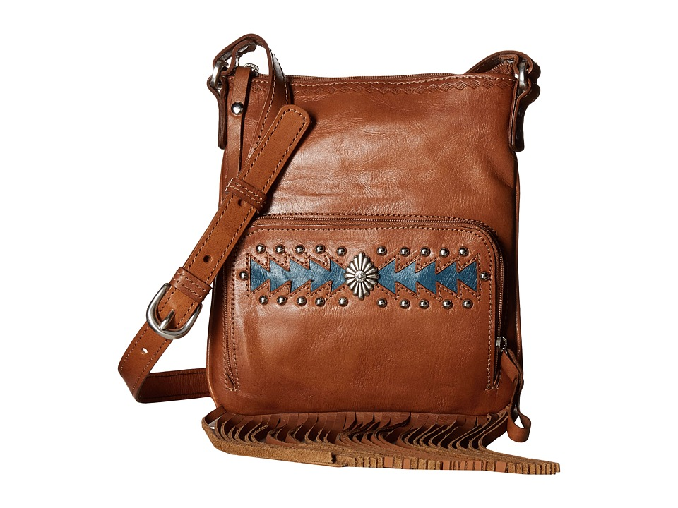 American West - Moon Dancer Crossbody/Wallet (Golden Tan/Blue) Cross Body Handbags