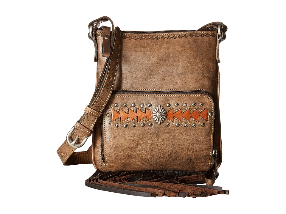 American West - Moon Dancer Crossbody/Wallet (Distressed Charcoal Brown/Golden Tan/Chocolate) Cross Body Handbags