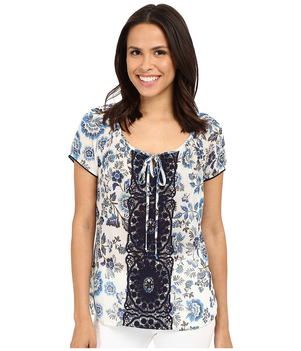 KUT from the Kloth Austin Pullover Shirt White/Blue Womens Blouse