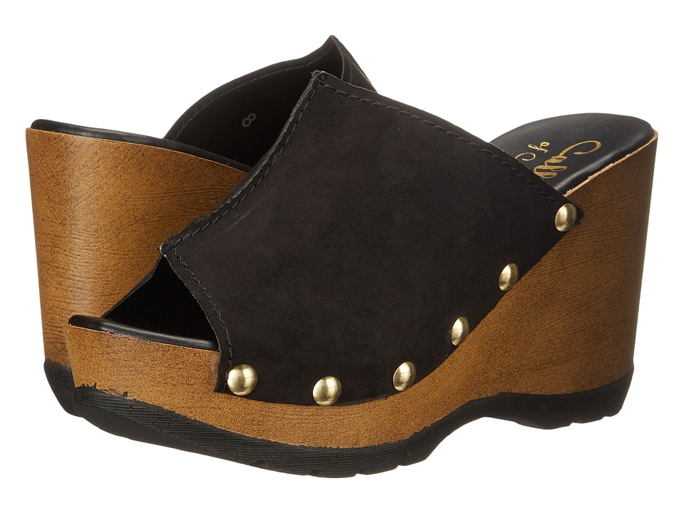 Callisto of California Rennee Black Suede Womens Clog/Mule Shoes