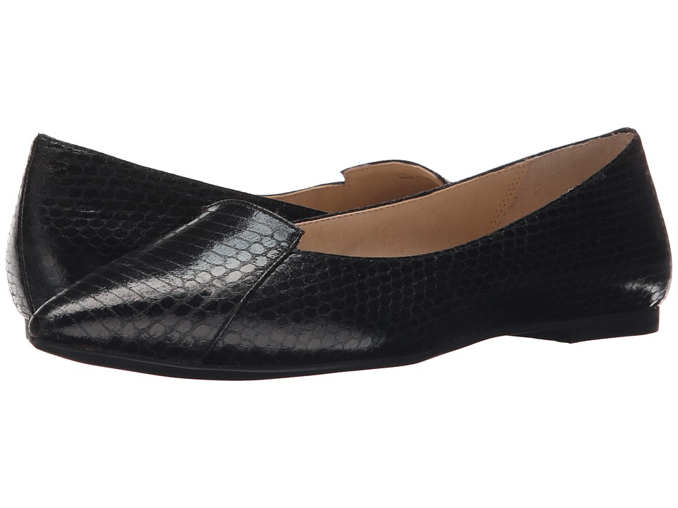 Callisto of California Justine Black Snake Womens Dress Flat Shoes