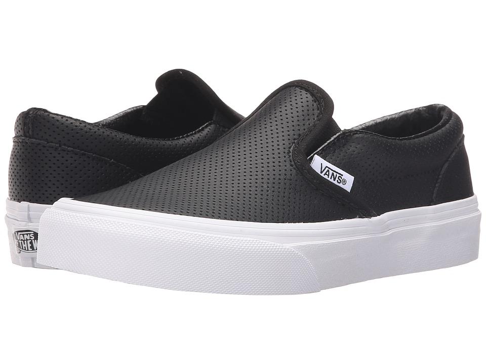 Vans Kids Classic Slip-On (Little Kid/Big Kid) (Black Perf Leather) Kids Shoes