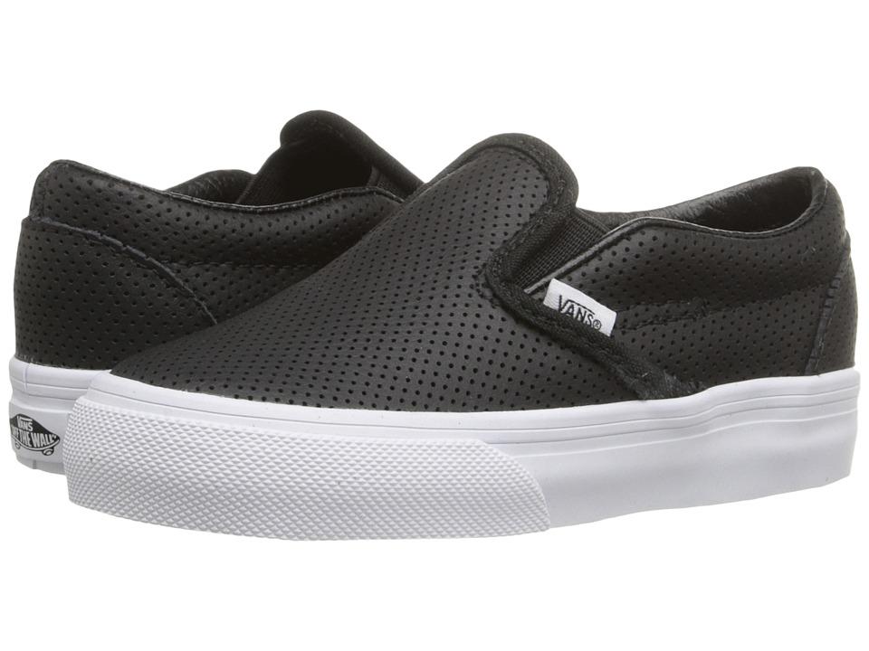 Vans Kids Classic Slip-On (Toddler) (Black Perf Leather) Kids Shoes