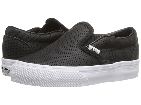 Vans Kids Classic Slip-On (Toddler) - Black Perf Leather