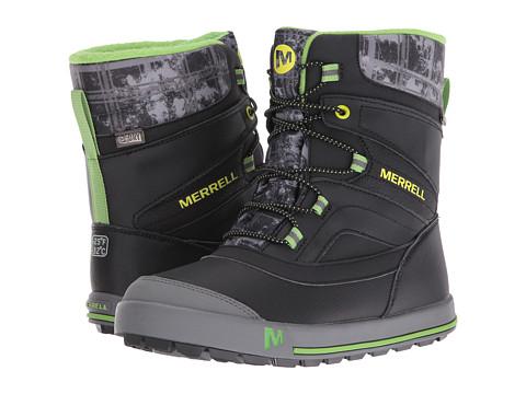 Merrell Kids Snow Bank 2.0 Waterproof (Big Kid) - Black/Grey/Green Leather