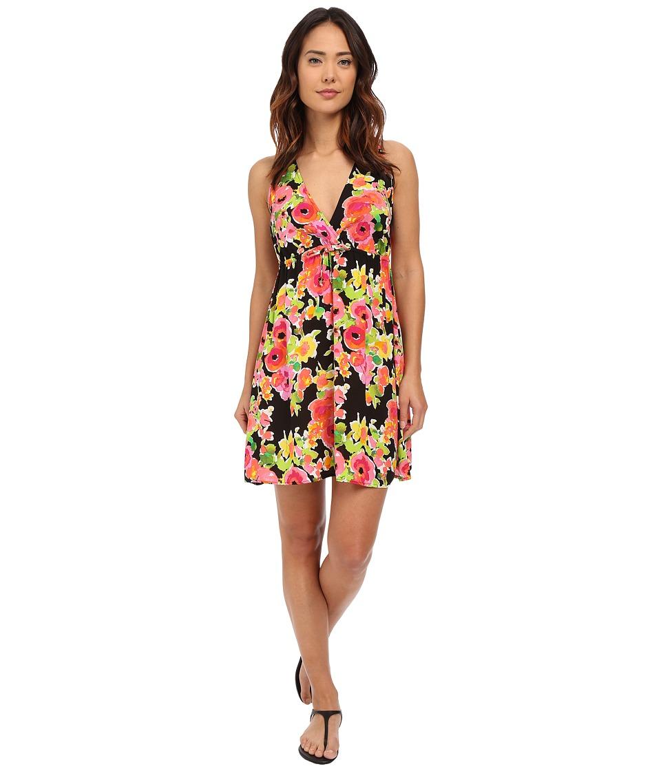 LAUREN Ralph Lauren Brilliant Floral Surplice Halter Dress Black Womens Swimwear