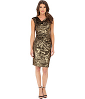 Vince Camuto - Panne Velvet Cap Sleeve Drape Neck Sheath Dress