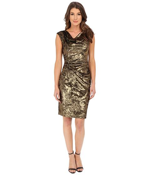 Vince Camuto - Panne Velvet Cap Sleeve Drape Neck Sheath Dress (Gold) Women's Dress