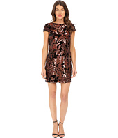 Vince Camuto - Cap Sleeve Velvet Sheath Dress with Flexible Copper Sequins