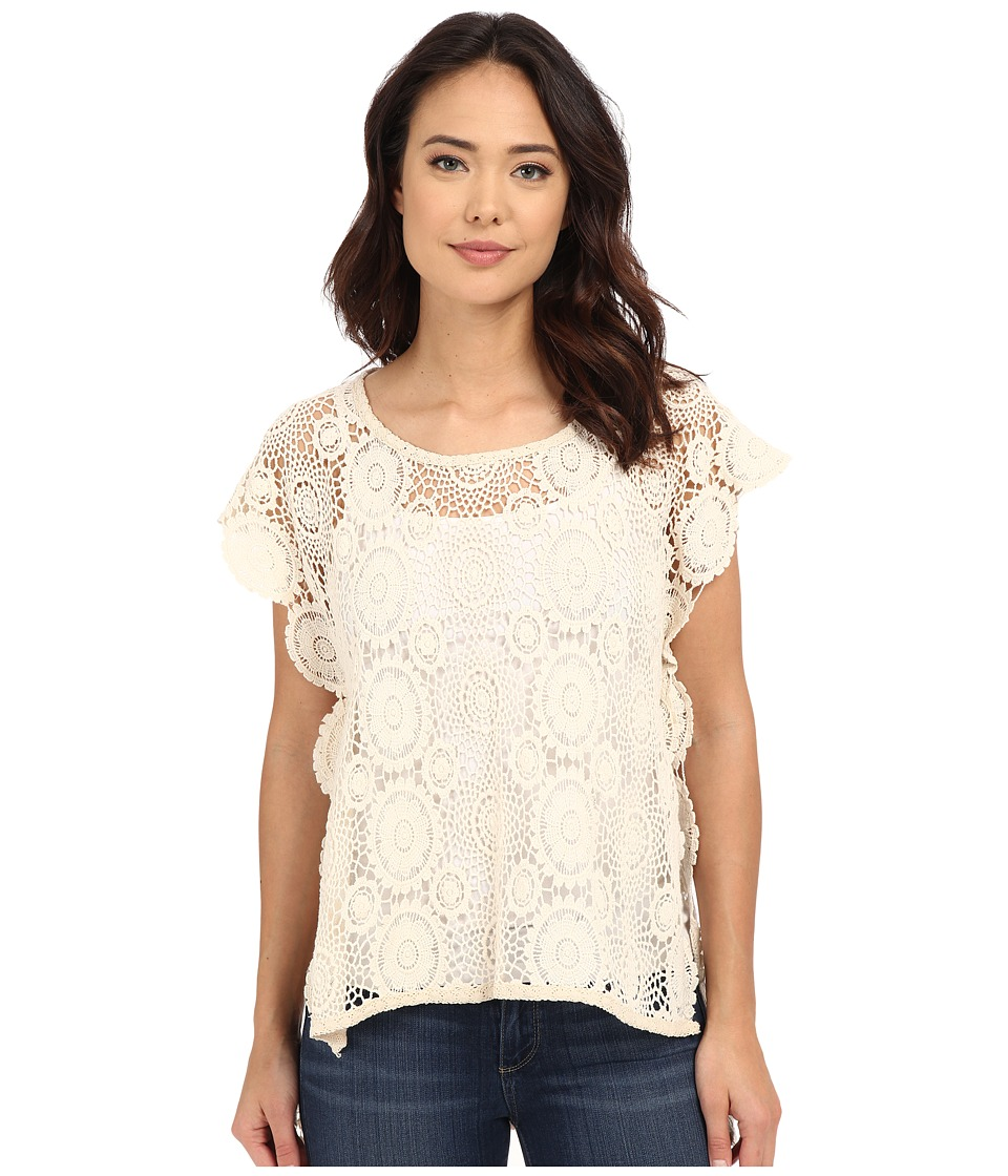 BCBGeneration Embrace the Lace High Low Poncho Natural Womens Short Sleeve Pullover