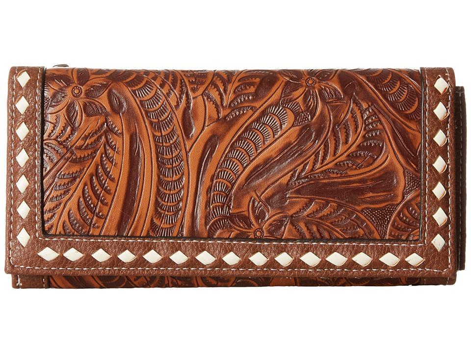 M&F Western - Floral Embossed Buck Stitch Wallet (Tan) Wallet Handbags