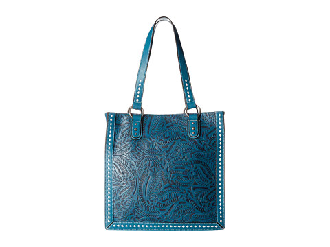 M&F Western Floral Embossed Buck Stitch Tote - Blue