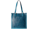 M&F Western Floral Embossed Buck Stitch Tote (Blue)