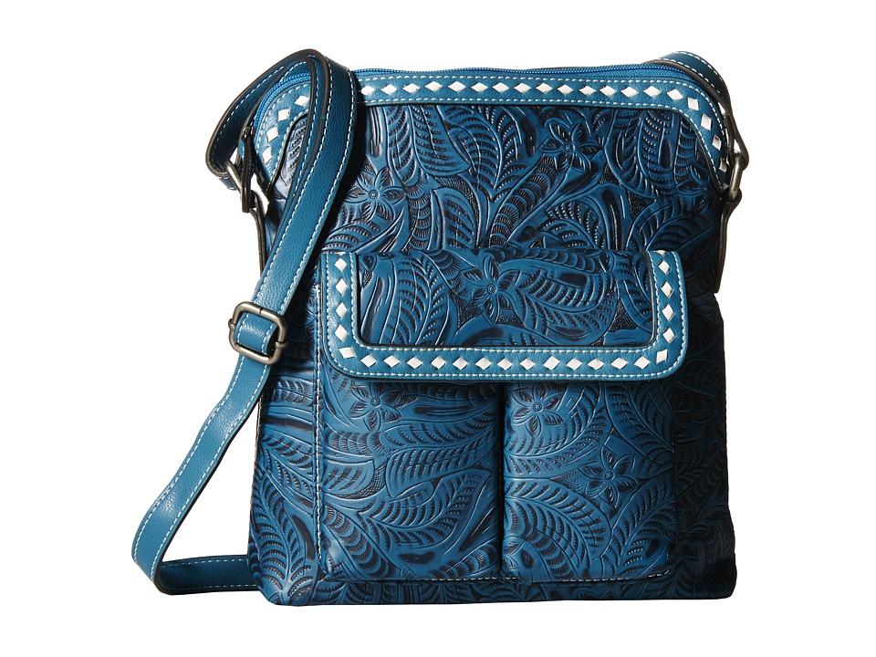 M & F Western - Floral Embossed Buck Stitch Crossbody (Blue) Cross Body Handbags
