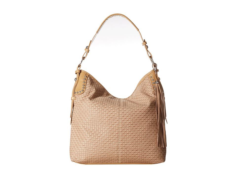 MampF Western Basketweave Large Shoulder Bag Tan Shoulder Handbags