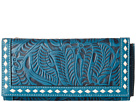 M&F Western Floral Embossed Buck Stitch Wallet (Blue)