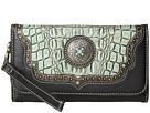 M&F Western Croco Concho Wristlet Wallet (Turquoise/Black)