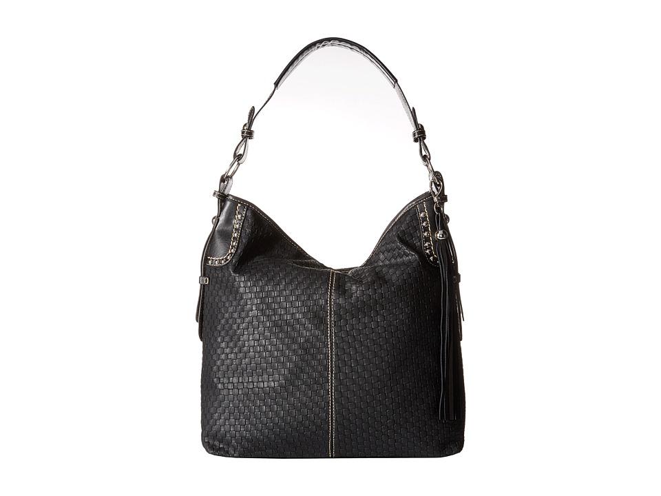 M & F Western - Basketweave Large Shoulder Bag (Black) Shoulder Handbags