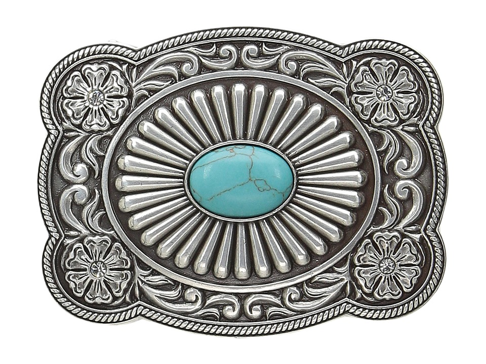 M&F Western - Scallop Edged Turquoise Rectangle Buckle (S...