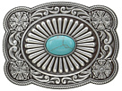M&F Western Scallop Edged Turquoise Rectangle Buckle