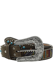 M&F Western - Turquoise Stone Tab Belt with Beaded Embroidery