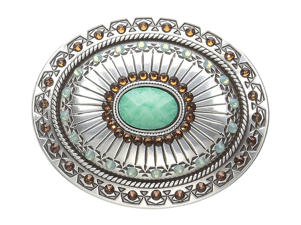 M&F Western - Tribal Stamped Oval Buckle (Silver/Turquois...