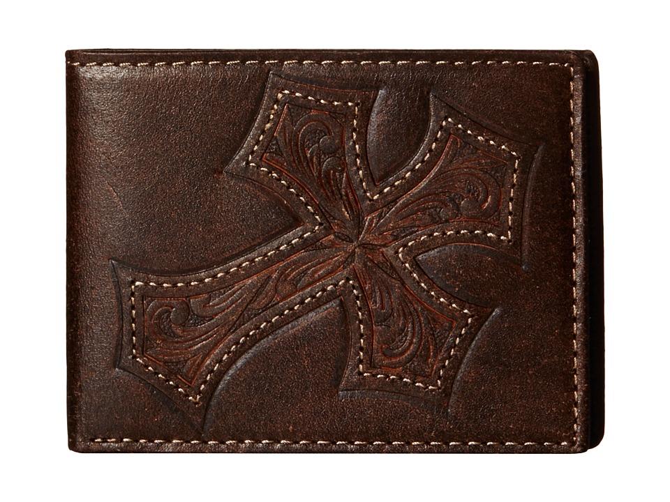 MampF Western Large Tooled Cross Overlay Bi Fold Wallet Brown Wallet Handbags