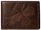 M&F Western Large Tooled Cross Overlay Bi-Fold Wallet (Brown)