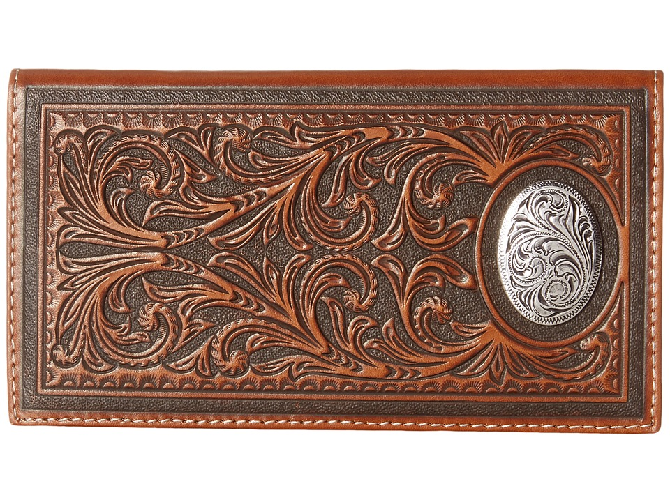 MampF Western Large Oval Concho Embossed Rodeo Wallet Tan Wallet Handbags
